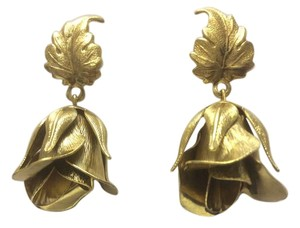 Other Satin Hamilton Gold Rose Bud with Leaf Post Earrings