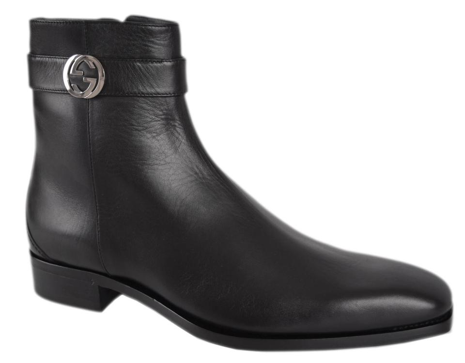 83a058248ebe Gucci Black New Men s 114415 Leather Interlocking Gg Ankle 8 G 9 U.s Boots  Booties