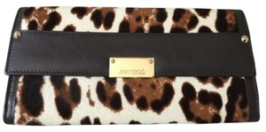 Jimmy Choo Leather Calf Hair Leopard Print Clutch