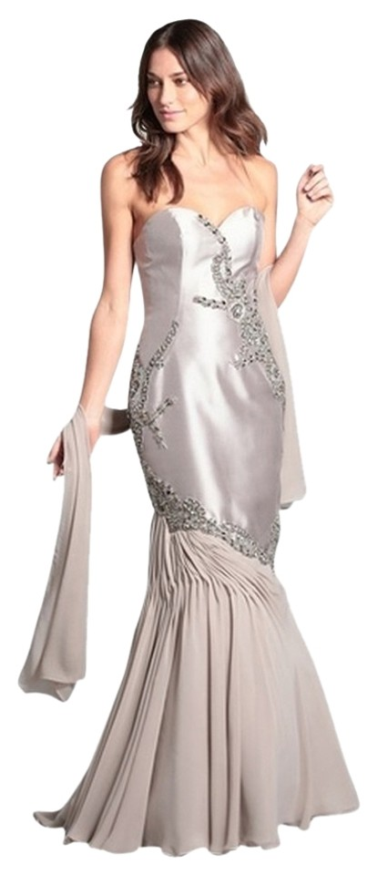 a27d8bc57a9c Terani Couture Taupe/Gray Women's Embellished Strapless Gown (Taupe ...
