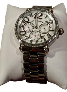 Betsey Johnson Betsey Johnson Silver Tone Chronograph Crystal Bling Glitz Watch NEW IN BOX