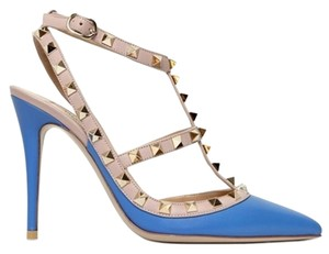 Valentino Rockstud Spikes Studs Light Blue Sapphire Pumps