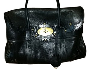 Mulberry Leather Studded Satchel in black
