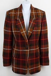 Ellen Tracy Ellen Tracy Brown Green Multi Plaid 1-button Woolcashmere Blazer B86