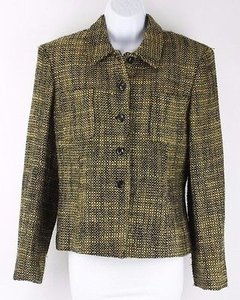Jones New York Jones York Gold Black Metallic Thread Pocket Jacket B68
