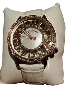 Betsey Johnson Betsey Johnson Rose Gold tone Crystal White Leather Strap See through Watch NEW