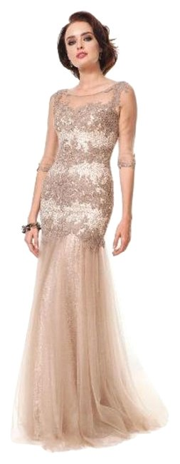 Item - Taupe Marsoni By 1201 Long Formal Dress Size 14 (L)