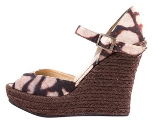 Jimmy Choo Brown Print Wedges