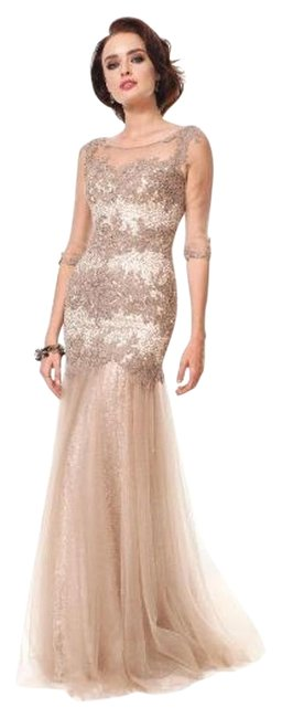 Item - Taupe Marsoni By 1201 Long Formal Dress Size 8 (M)
