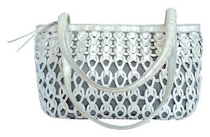 Nancy Gonzalez Denim Crocodile Shoulder Bag