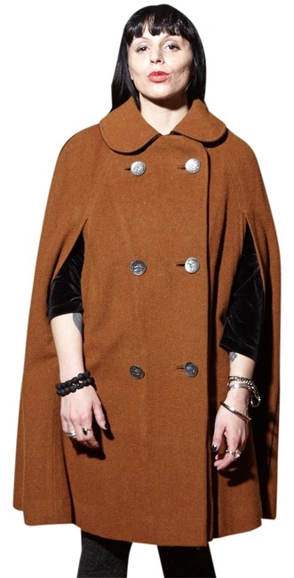 Item - Tan Vintage 50's 60's All Wool Poncho/Cape Size 4 (S)