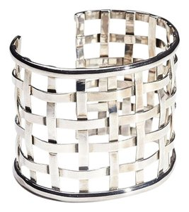 Condemned to Be Free Sterling Silver Lattice Basketweave Cuff