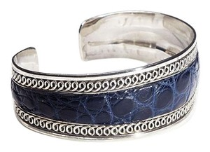 Condemned to Be Free Sterling Silver Matte Alligator Leather Cuff