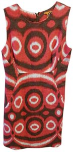 Tory Burch short dress Peach/Orange with Brown and White Design on Tradesy