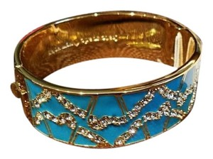 Kate Spade KATE SPADE NY Turquoise Blue Garden Grove Crystal Bling Glitz Fashion Bangle Bracelet NEW W POUCH