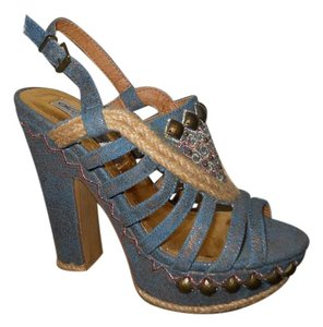 Naughty Monkey Studded Platform blue Sandals