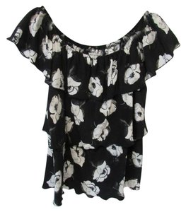 White House   Black Market Off The Tiered Floral Summer Top Black