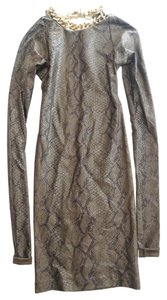 Thomas Wylde Snakeskin Print Long Sleeve Chain Mini Dress