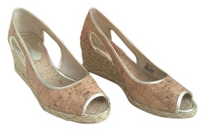 Donald J. Pliner Cork/metallic distressed (gold) Wedges