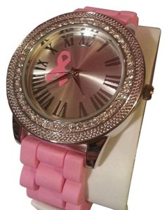 New Breast Cancer Awareness Pink Ribbon Bling Stones Roman Numerals Watch New In Box