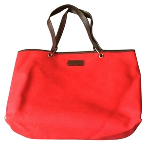 Longchamp Leather Tote in Red
