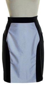 MILLY Stretch Panel Reflector Mini Skirt Black/Silver