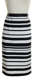 Sam Edelman Ponte Knit Striped Skirt Black White