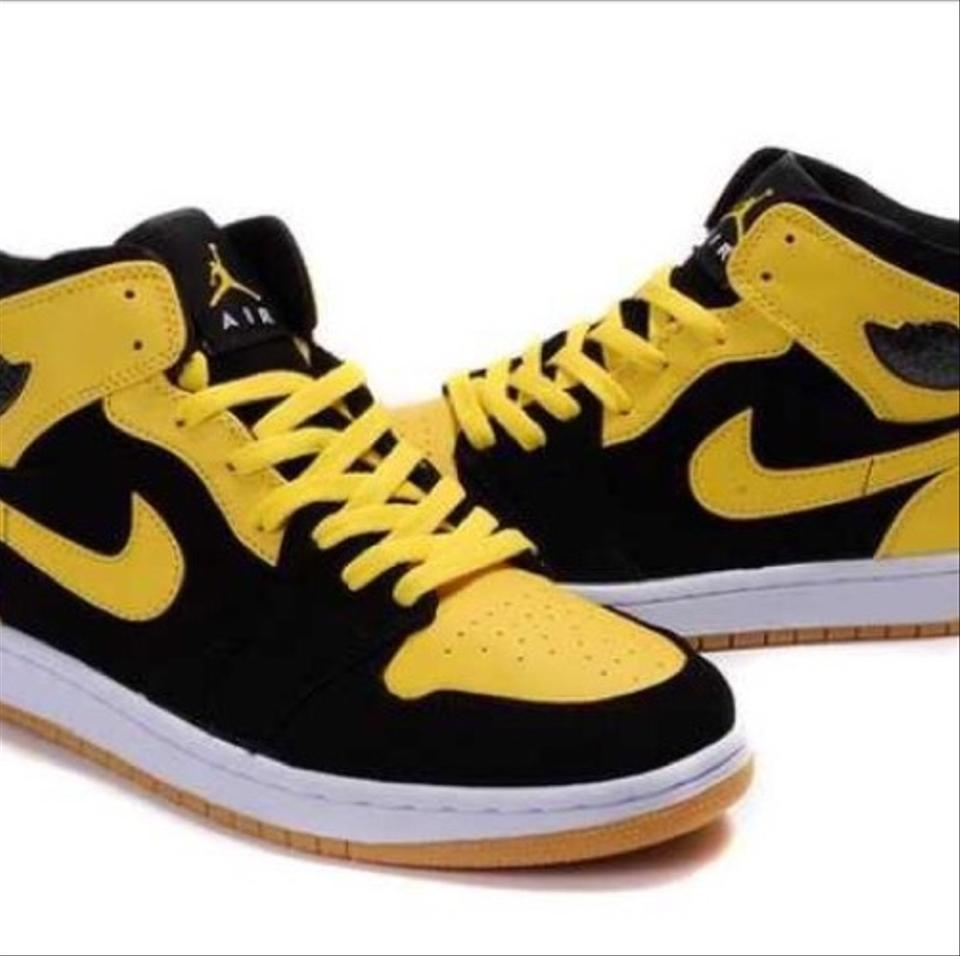 buy popular 13bf9 37abf Nike Black and Yellow Air Jordan 1 Retro Sneakers Size US 7 Regular (M, B)  67% off retail