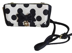 Betsey Johnson Black/bone polka dot/ front cell pocket/ black wallet