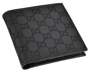 5bdd6a3c5940 Gucci NEW GUCCI Men's Black Canvas GG Guccissima Coin Pocket Bifold Wallet