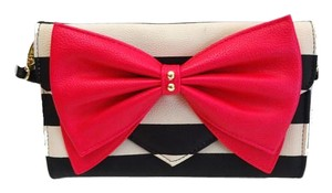 Betsey Johnson Black/bone stripe/fuchsia bow/wallet on a string