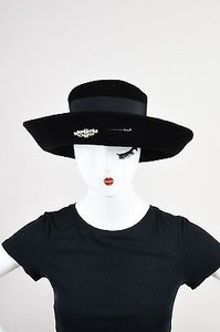 Other Vintage Andre Black Velour Felt Rhinestone Pin Grosgrain Ribbon Bow Breton Hat