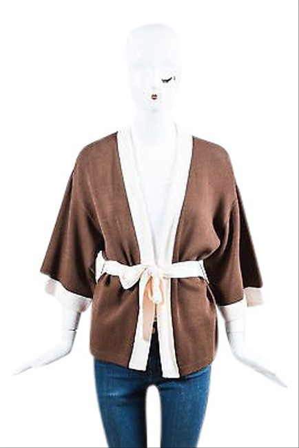 Item - Brown Cream Woven Knit Color Block Belted Cardigan Sweater P
