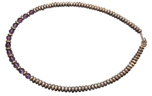 Sterling Beaded Necklace with Amethyst Beads Wonderful Silver Beaded Necklace with Purple Gemstones!