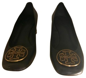 Tory Burch Navy Blue with Gold Heal Trim and Emblem Pumps