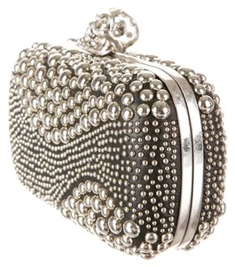 Alexander McQueen Leather Studded Crystal Black & Silver Clutch