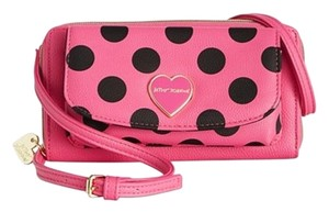 Betsey Johnson front cell phone pocket/ cross body fuchsia WALLET