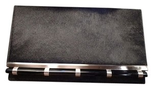 Moo Roo Calfhair Resin Accents Chic Black/Silver Clutch
