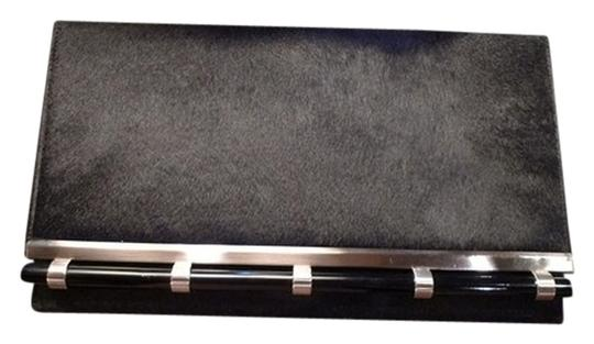 Moo Roo Calfhair Resin Accents Chic Retro Black/Silver Clutch