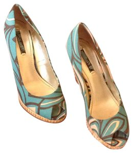 Nine West Turquoise, brown, salmon Wedges