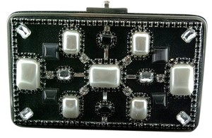 Moo Roo Embellished Cocktail Formal Wedding Bejeweled Black/White Clutch