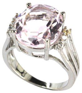Other Large Platinum Pink Kunzite, CZ Woman's Sterling Silver Ring 6.75