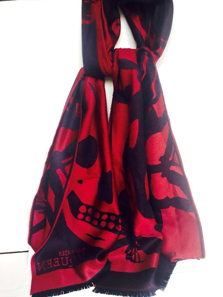 3177062d8 Alexander McQueen Red/Navy Large Scarf/Wrap - Tradesy