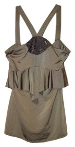 bebe Date Beading Top Olive Green with Silver Beads