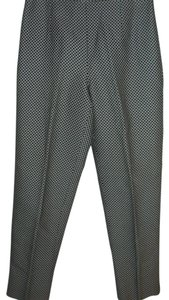 Talbots Silk Geometric Graphic Work Straight Pants black & white