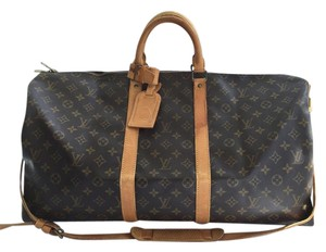 Louis Vuitton Leather Vintage Keepall Monogram Travel Bag