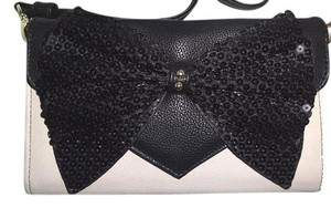 Betsey Johnson Wallet on a string/ cream/black sequin bow/ cross body wallet