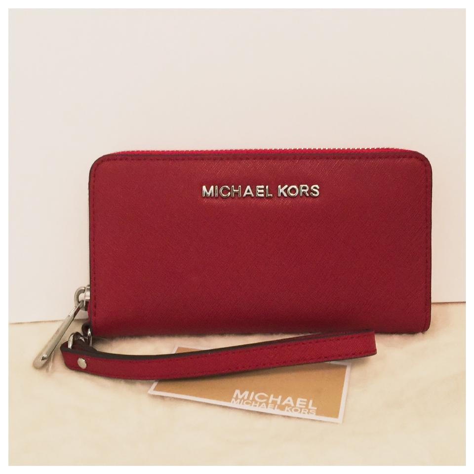 b6b350d25428 Michael Kors Jet Set Saffiano Tech Phone Wallet Red Leather Wristlet ...