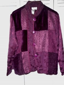 Coldwater Creek Chenille Dry Clean Only Patchwork Burgundy Jacket