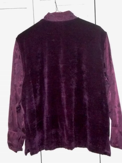 Coldwater Creek Chenille Dry Clean Only Patchwork Purple Burgundy Jacket